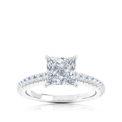 The Studio Collection Princess Cut Center Diamond and Diamond Pavé Shank Engagement Ring