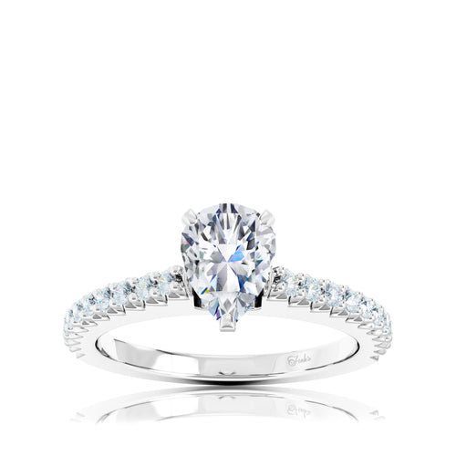 The Studio Collection Pear Center Prong-Set Diamond and Diamond Pavé Shank Engagement Ring