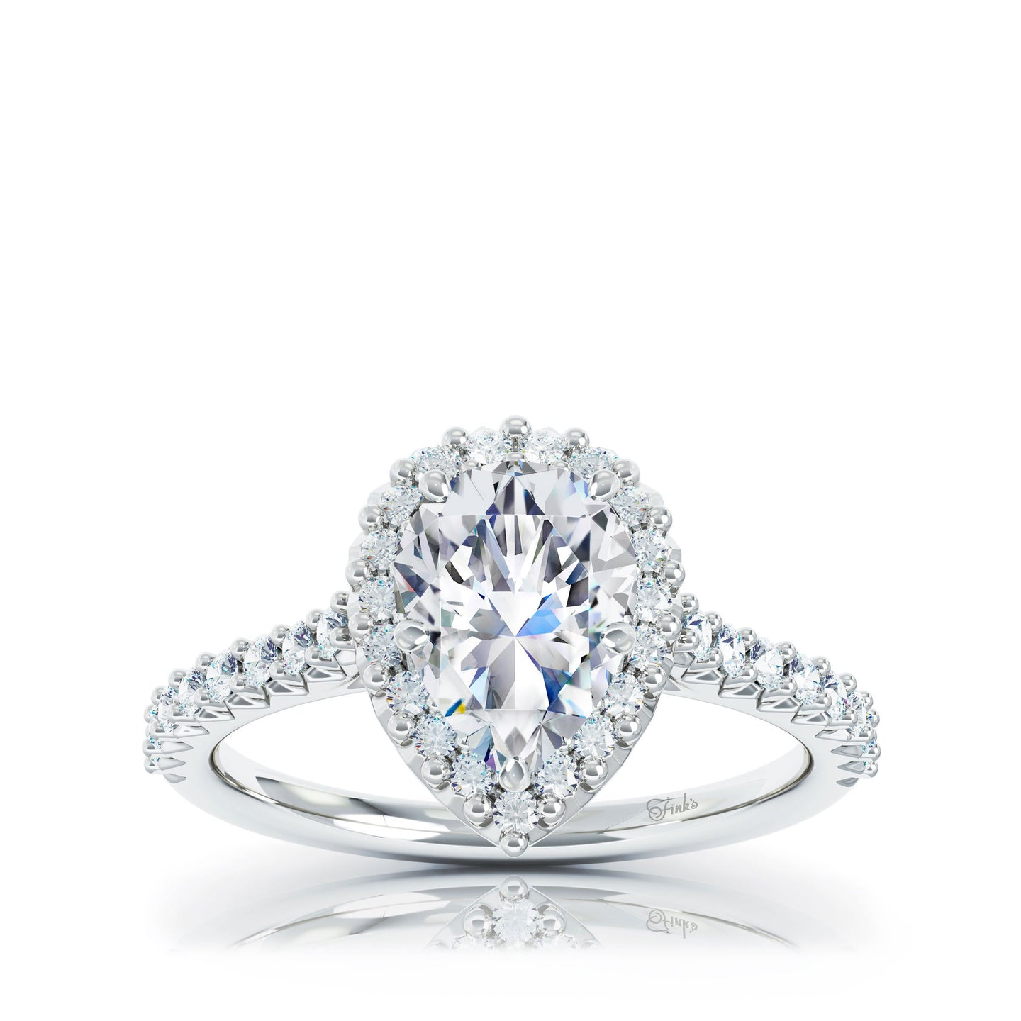 The Studio Collection Pear Center Diamond and Halo Engagement Ring