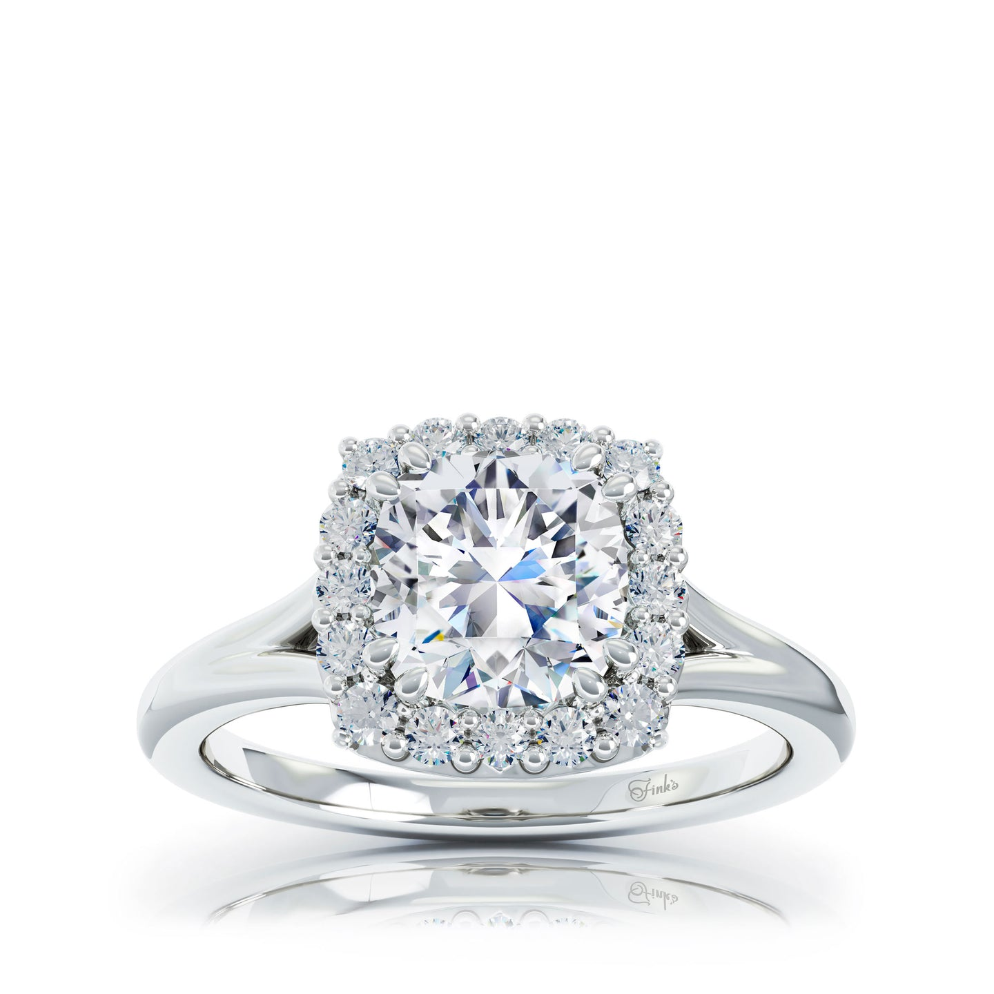 The Studio Collection FireCushion Diamond Halo and Classic Shank Engagement Ring