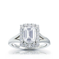 The Studio Collection Emerald Diamond Halo and Classic Shank Engagement Ring