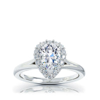 The Studio Collection Pear Diamond Halo and Classic Shank Engagement Ring
