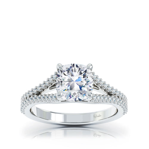The Studio Collection Cushion Center Diamond and Split Diamond Shank Engagement Ring
