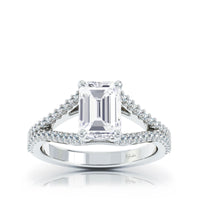 The Studio Collection Emerald Center Diamond and Split Diamond Shank Engagement Ring