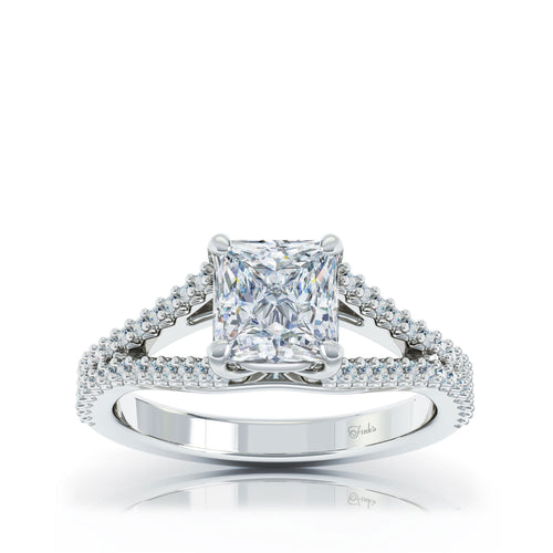 The Studio Collection Princess Cut Center Diamond and Split Diamond Shank Engagement Ring