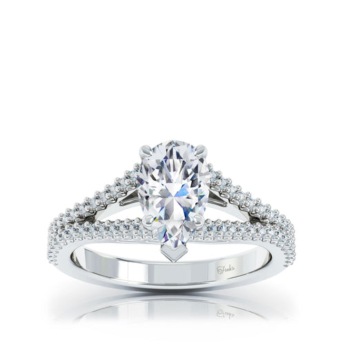 The Studio Collection Pear Center Diamond and Split Diamond Shank Engagement Ring