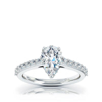 The Studio Collection Pear Center Diamond with Diamond Gallery and Shank Engagement Ring