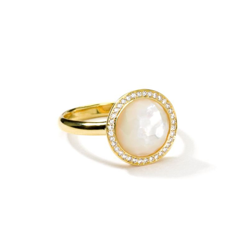 IPPOLITA Lollipop® 18K Yellow Gold Mini Ring with Diamonds in Mother-of-Pearl