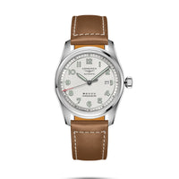 Longines Spirit Collection 42mm Silver Dial Brown Leather Strap Gent's Watch