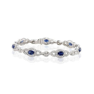 Sabel Collection 14K White Gold Oval Sapphire and Diamond Leaf Bracelet