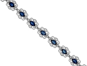 Sabel Collection 14K White Gold Oval Sapphire and Round Diamond Bracelet