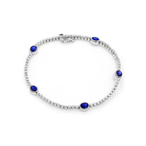 Sabel Collection 14K White Gold Oval Sapphire and Round Diamond Station Bracelet