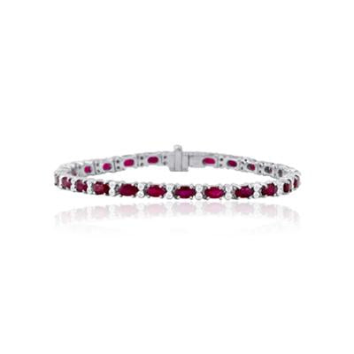 Sabel Collection 14K White Gold Ruby and Diamond Bracelet
