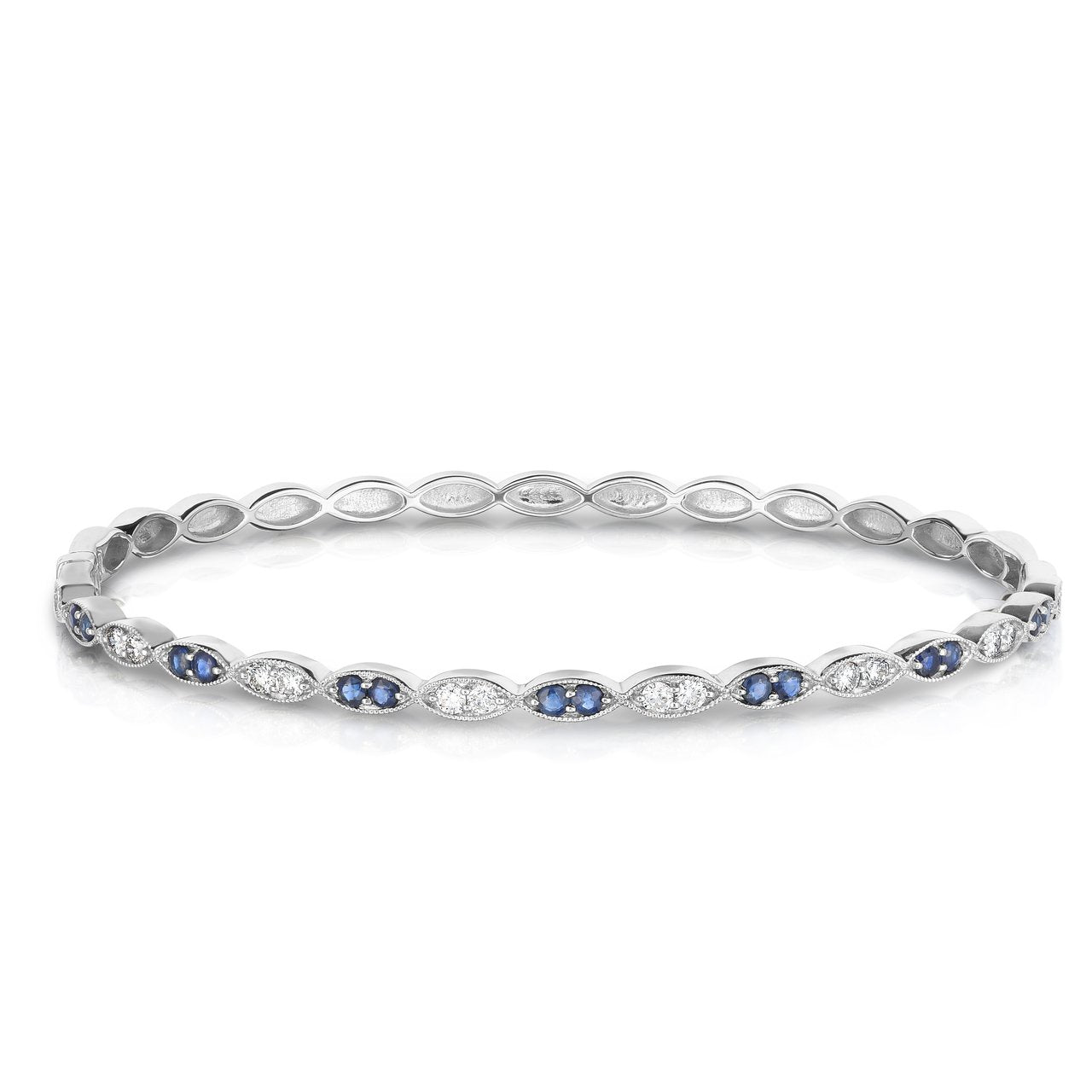 Sabel Collection 14K White Gold Sapphire and Diamond Marquise Accent Bracelet