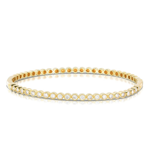 Sabel Collection 14K Yellow Gold Round Bezel Set Diamond Bangle
