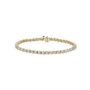 Sabel Collection 14K Yellow Gold Three Prong Set Round Diamond Tennis Bracelet