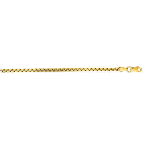 Sabel Men's 14K Yellow Gold Shiny Round Box Chain Necklace