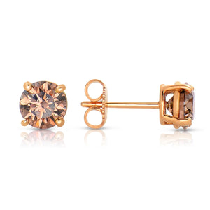 Sabel Collection 14K Pink Gold Mocha Diamond Stud Earrings