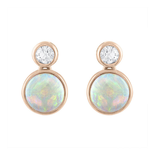 Sabel Collection 14K Rose Gold Opal and Diamond Bezel Set Drop Earrings