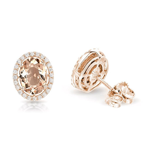 Sabel Collection 14K Rose Gold Oval Morganite and Diamond Stud Earrings
