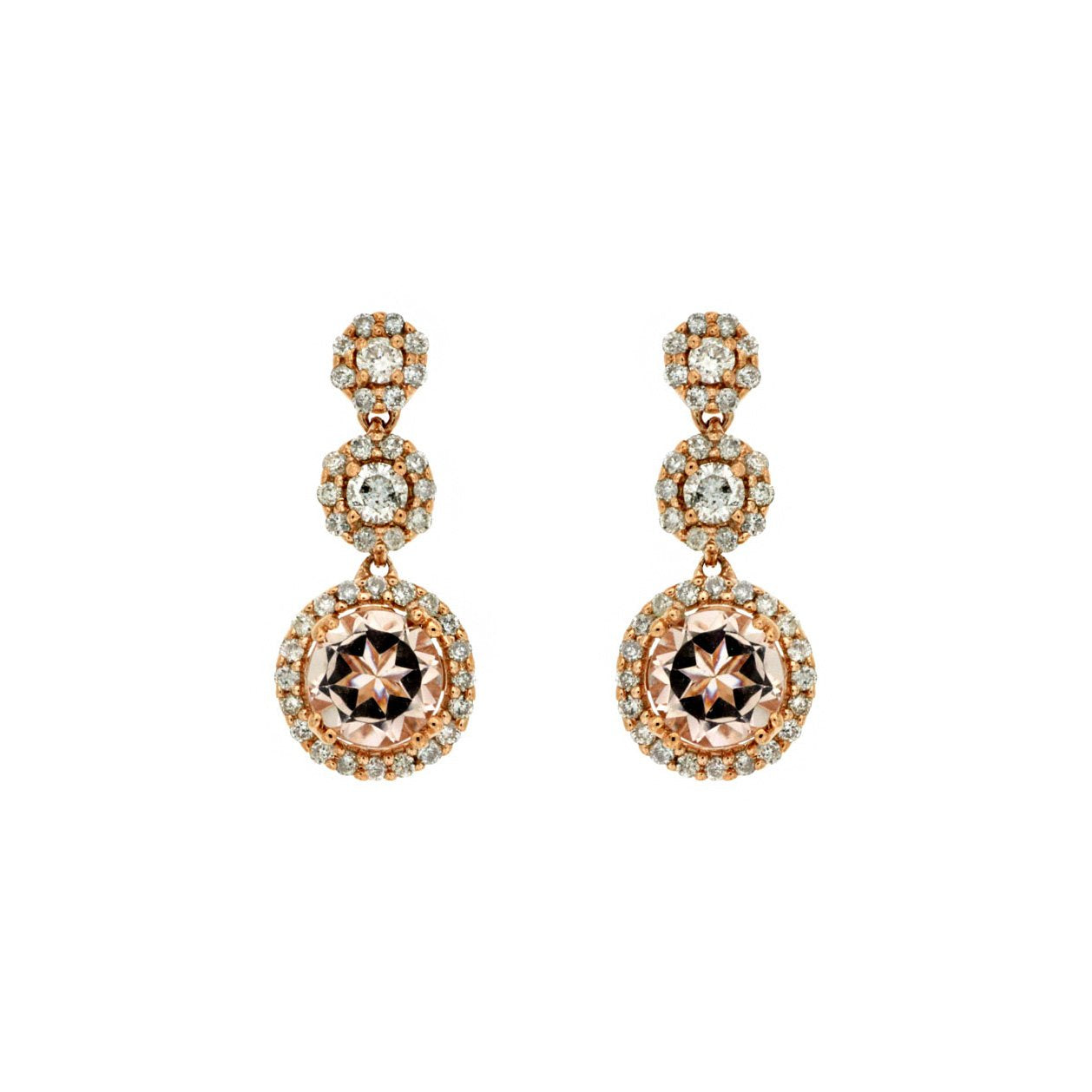 Sabel Collection 14K Rose Gold Round Morganite and Diamond Triple Drop Earrings
