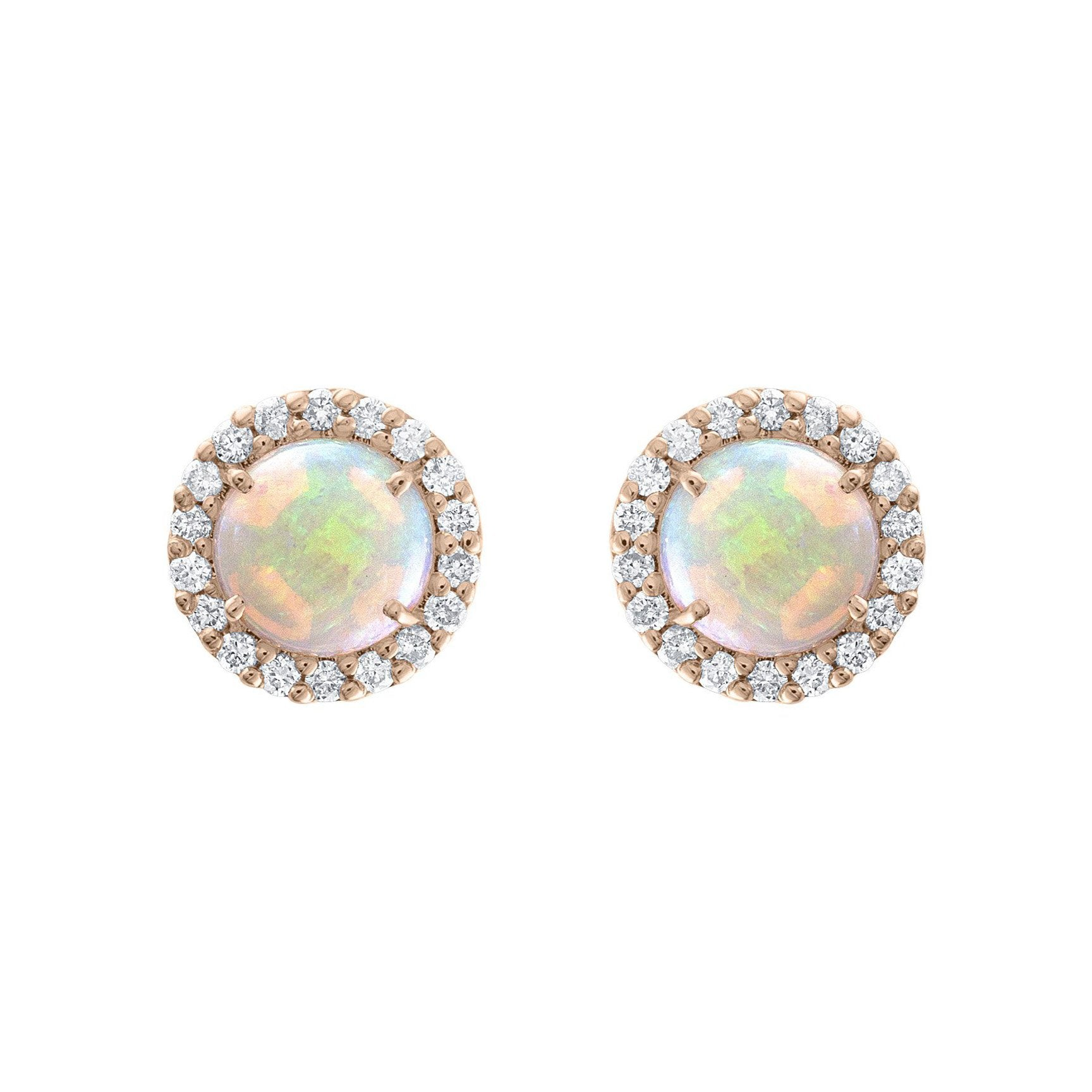 93d43c836 Sabel Collection 14K Rose Gold Round Opal Diamond Halo Stud Earrings