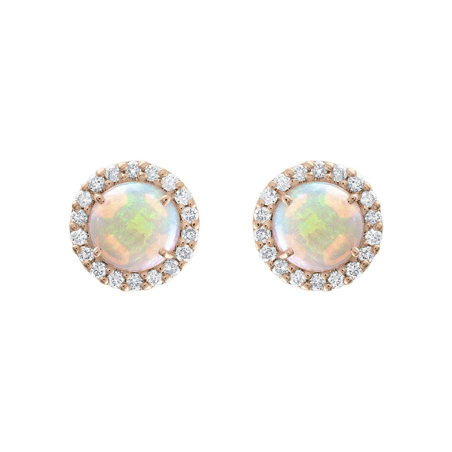 Sabel Collection 14K Rose Gold Round Opal Diamond Halo Stud Earrings