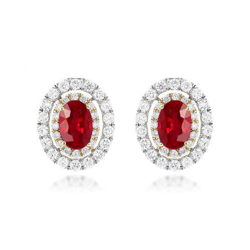 Sabel Collection 14K White and Yellow Gold Oval Ruby and Diamond Earrings
