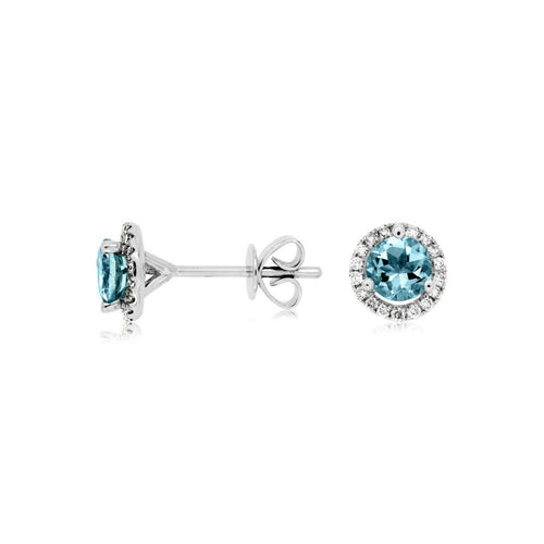 Sabel Collection 14K White Gold Aquamarine and Diamond Halo Stud Earrings