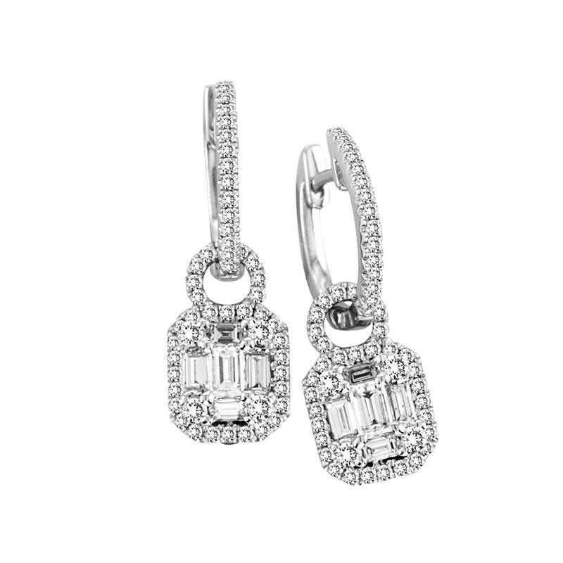 Sabel Collection 14K White Gold Baguette Diamond Dangle Earrings