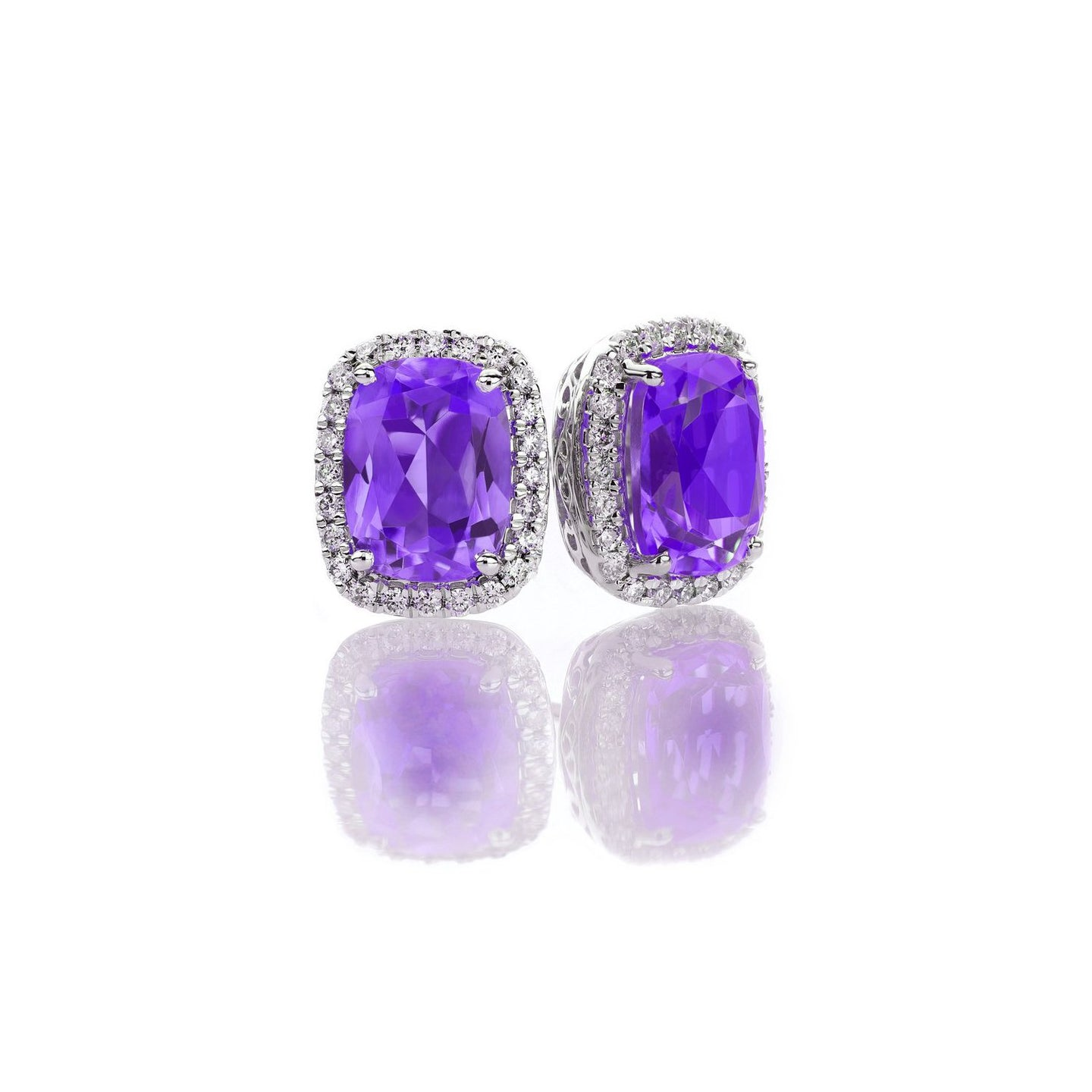 Sabel Collection 14K White Gold Cushion Cut Amethyst and Diamond Earrings