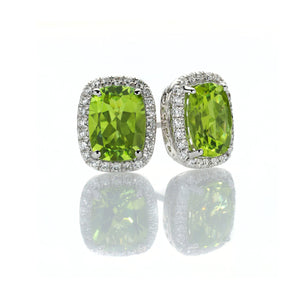 Sabel Collection 14K White Gold Cushion Cut Peridot and Diamond Earrings