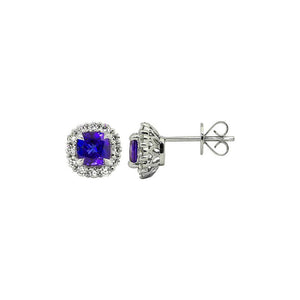 Sabel Collection 14K White Gold Cushion Cut Tanzanite and Diamond Earrings