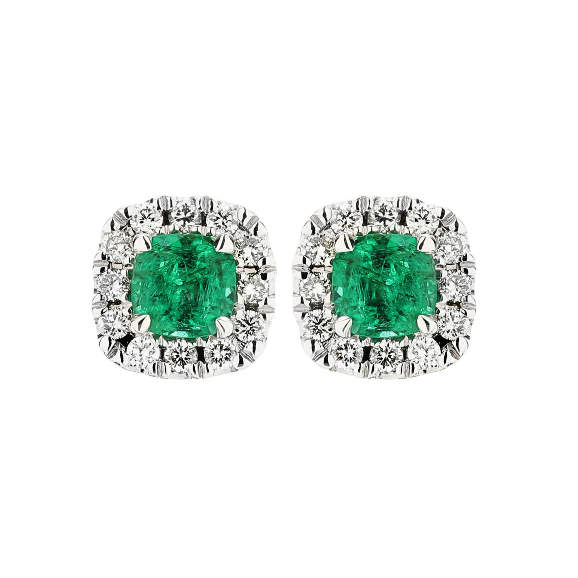 Sabel Collection 14k White Gold Cushion Emerald And Diamond Earrings