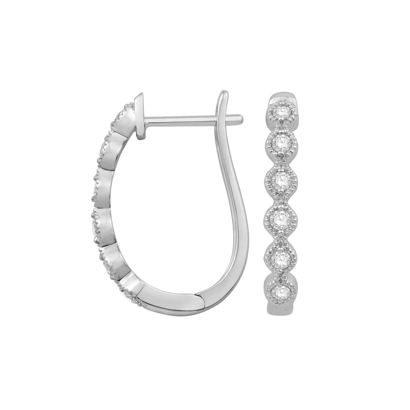 Sabel Collection 14K White Gold Diamond Hoop Earrings with Milgrain Accents