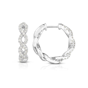 Sabel Collection 14K White Gold Diamond Twist Hoop Earrings