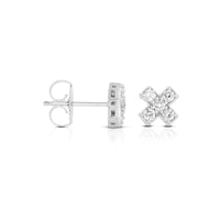 "Sabel Collection 14K White Gold Diamond ""X"" Earrings"