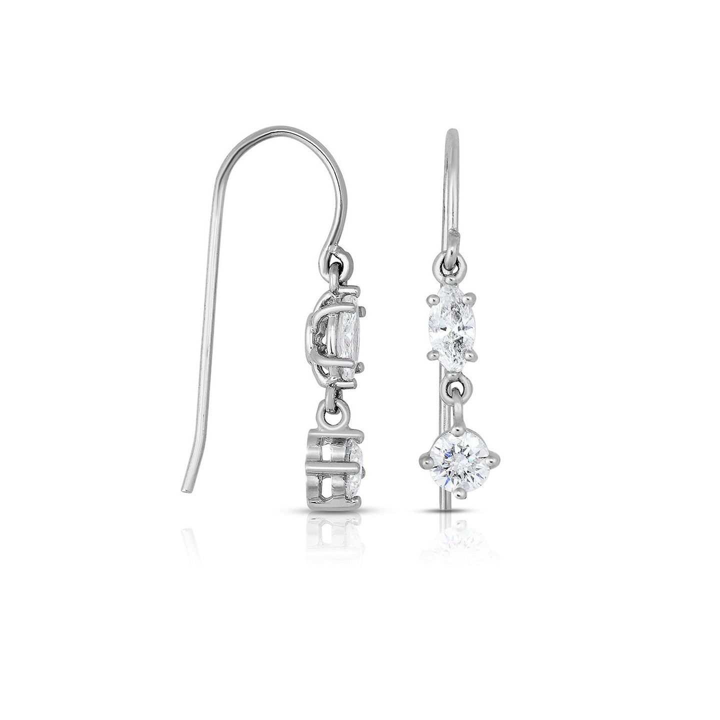 Sabel Collection 14K White Gold Marquise and Round Diamond Dangle Earrings