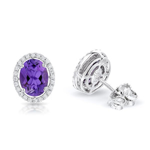 Sabel Collection 14K White Gold Oval Amethyst and Diamond Earrings