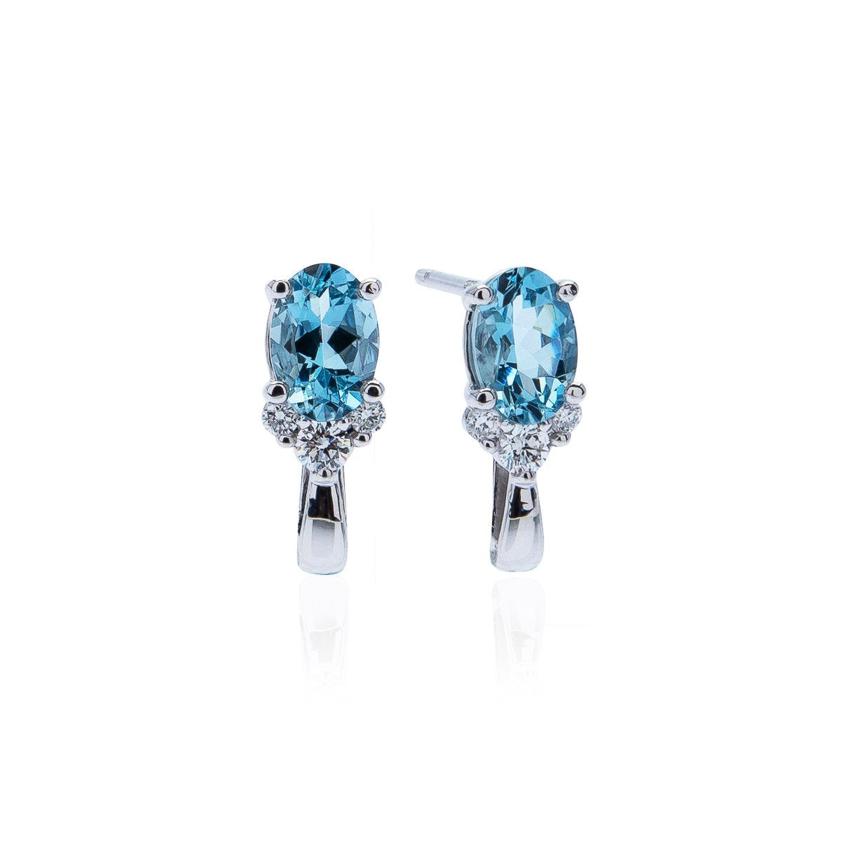 Sabel Collection 14K White Gold Oval Aquamarine and Diamond Cluster Earrings