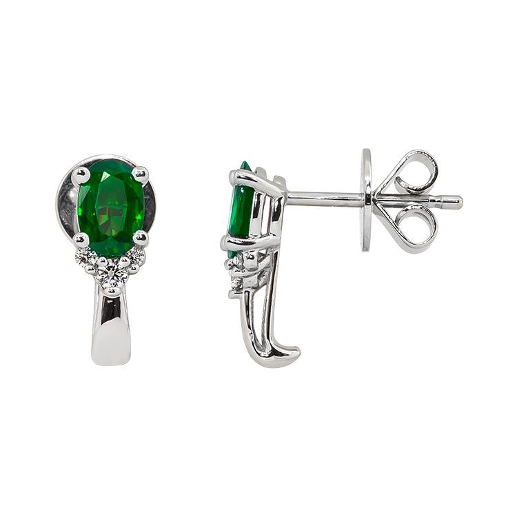 Sabel Collection 14K White Gold Oval Emerald and Diamond Cluster Earrings