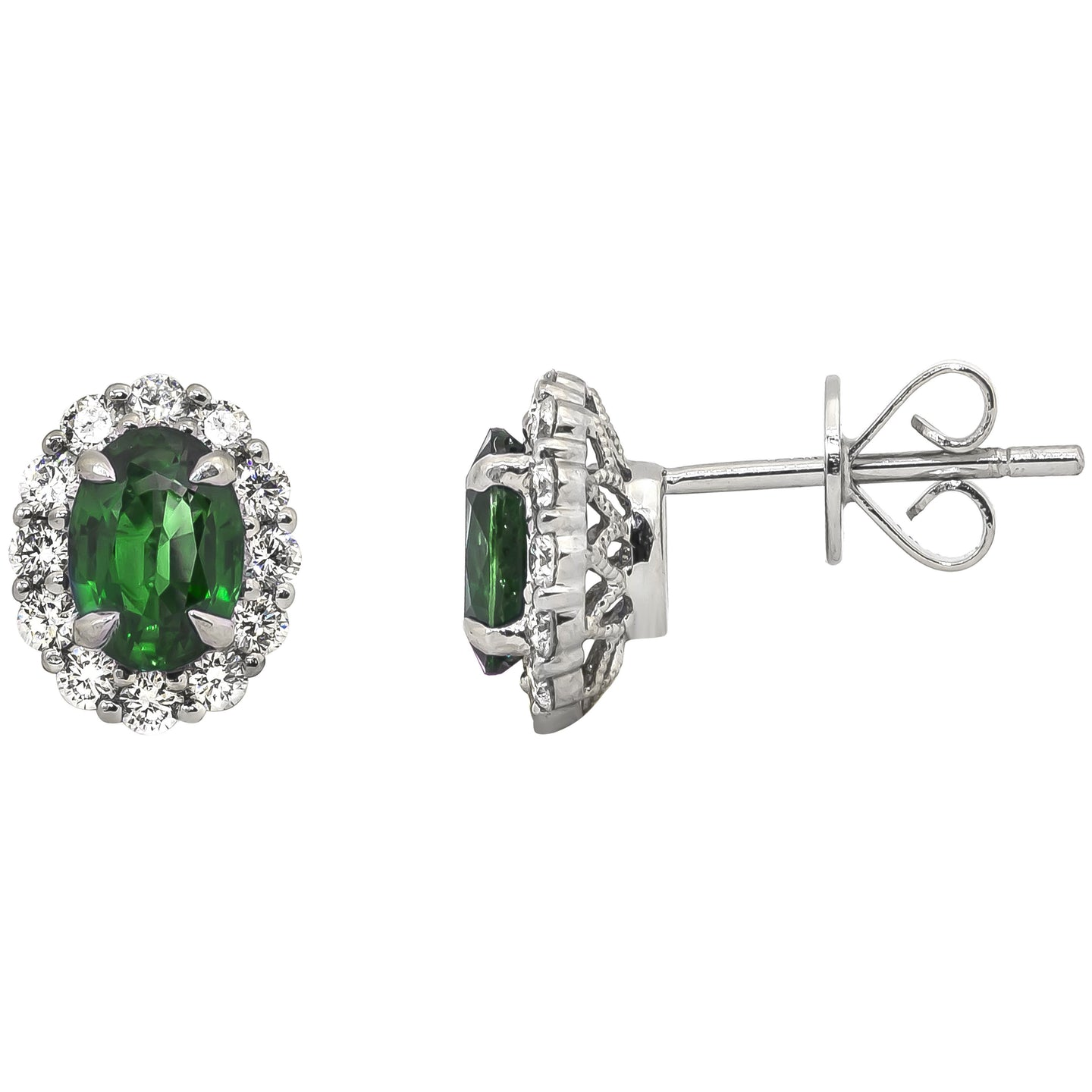 Sabel Collection 14K White Gold Oval Emerald and Diamond Halo Stud Earrings