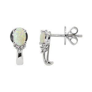 Sabel Collection 14K White Gold Oval Opal and Diamond Cluster Earrings