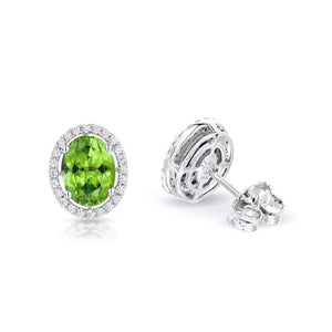 Sabel Collection 14K White Gold Oval Peridot and Diamond Earrings