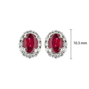 Sabel Collection 14K White Gold Oval Ruby and Diamond Halo Stud Earrings