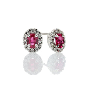 Sabel Collection 14K White Gold Oval Ruby and Diamond Stud Earrings