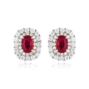 Sabel Collection 14K White Gold Oval Ruby and Double Halo Diamond Stud Earrings