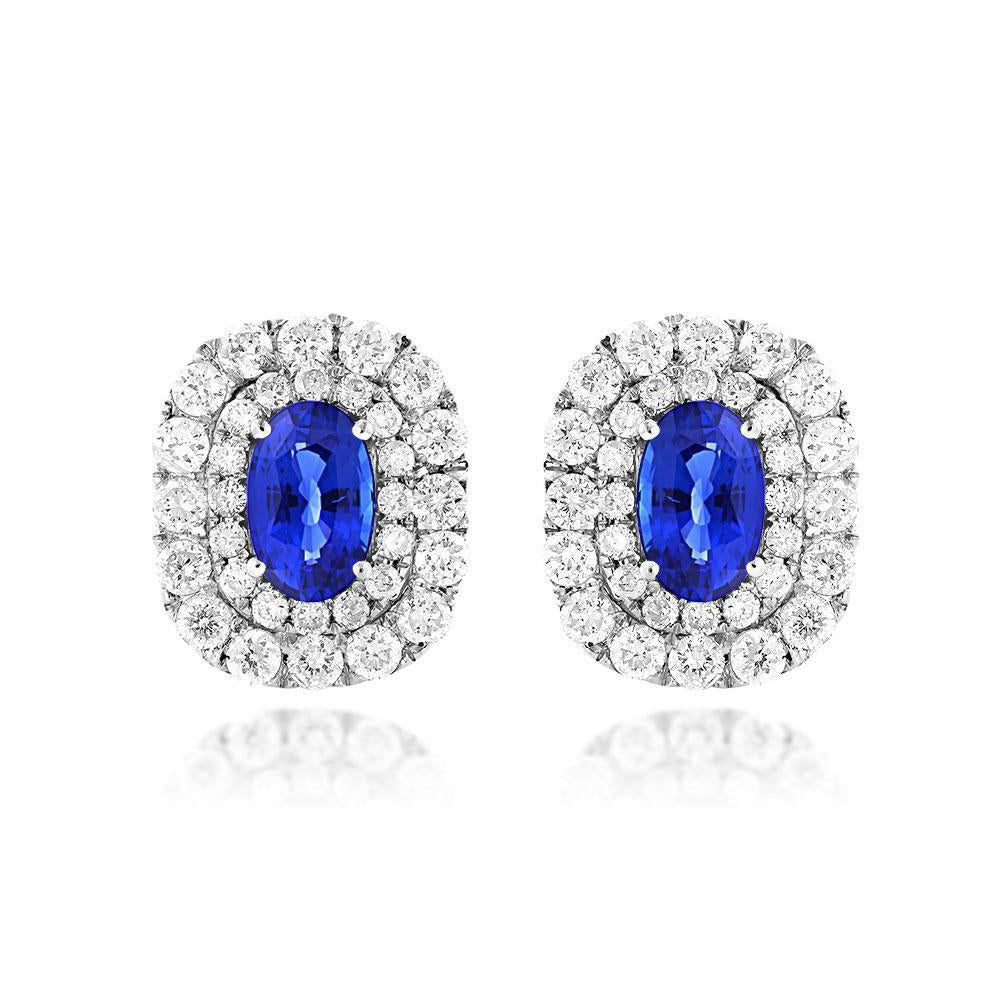 Sabel Collection 14K White Gold Oval Sapphire and Diamond Double Halo Earrings