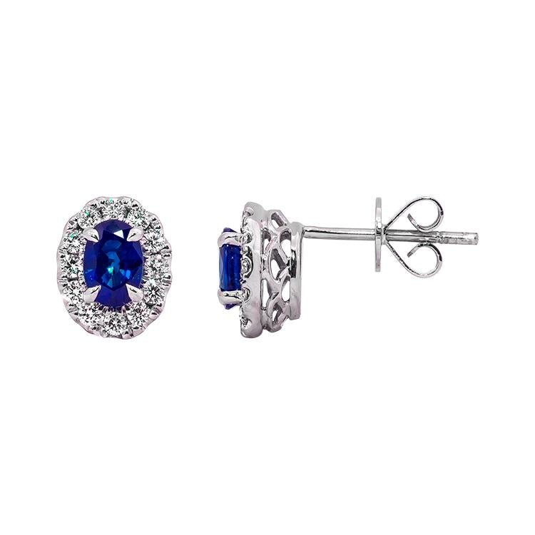 Sabel Collection 14K White Gold Oval Sapphire and Diamond Stud Earrings