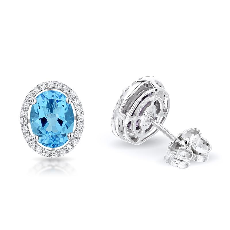 Sabel Collection 14K White Gold Oval Swiss Blue Topaz and Diamond Earrings